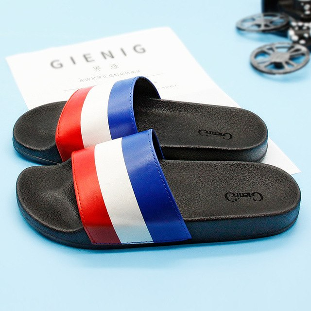 Red White Blue Striped Contour Insloe Men's Slippers