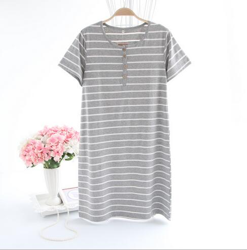 Women's Striped Casual Cotton Night Shirt
