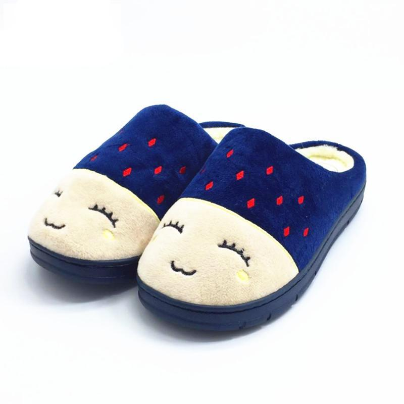 Embroidered Short Plush Slippers
