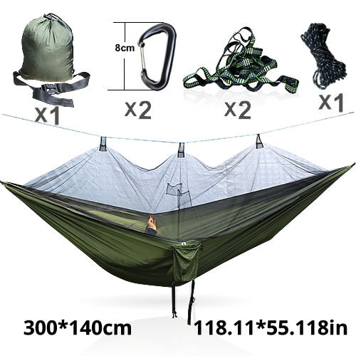 Hammock with Mosquito Net, and Hanging Hardware