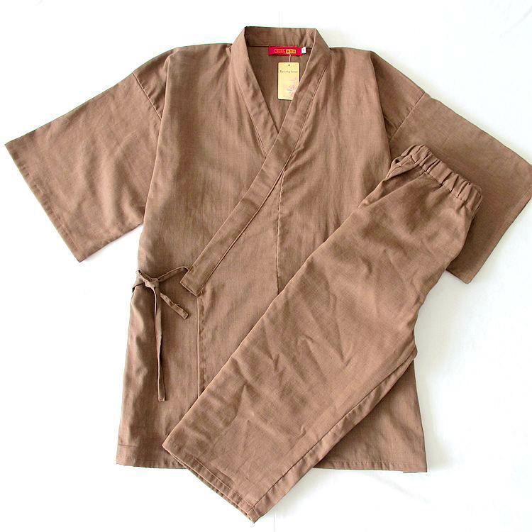 Men's Pajamas Kimono Summer Cotton Short sleeve Calf-Length Pants Pajamas