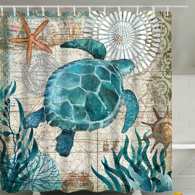 Sea Turtle, Sea Horse, Flamingos, and Exotic World, Polyster Fabric Shower Curtain