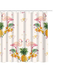 Flamingo and Owls, Polyester Fabric Shower Curtain