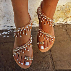 Beaded Pearl Strap Flat Sandals