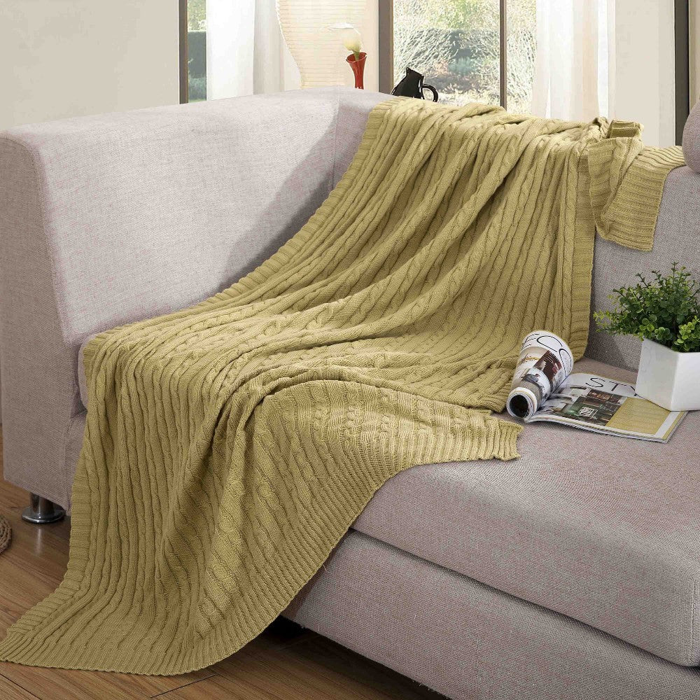 Chain Pattern Cotton Knit Throw Blanket