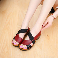 Women's Two Tone Leather Soft Bottom Sandals