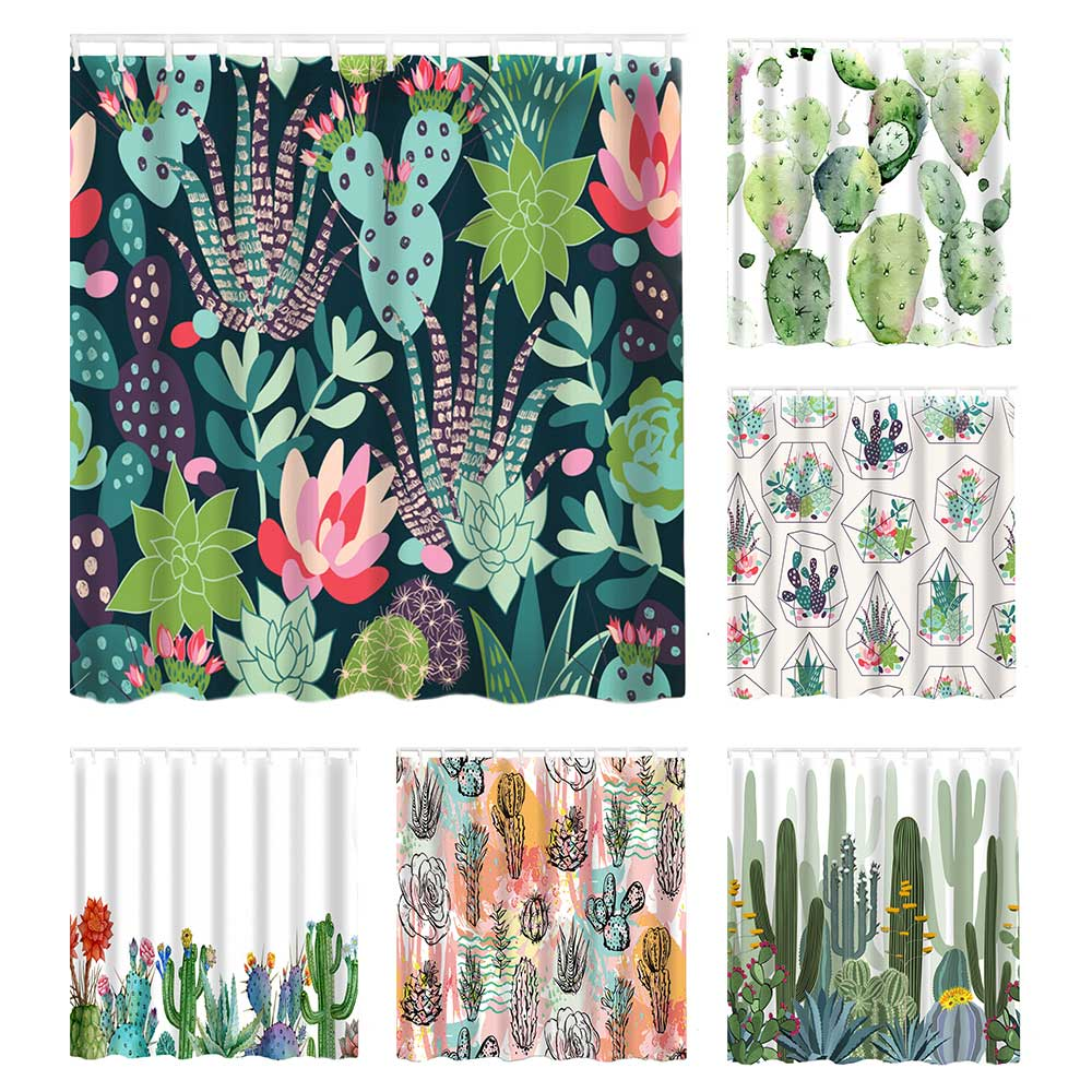 Cactus Print Shower Curtains, 180 x 180cm