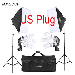 Studio Photo Lighting Kit with 2 Softbox 2-4in1 Bulb Socket 8 45W Bulb 2 Light Stand 1 Carrying Bag