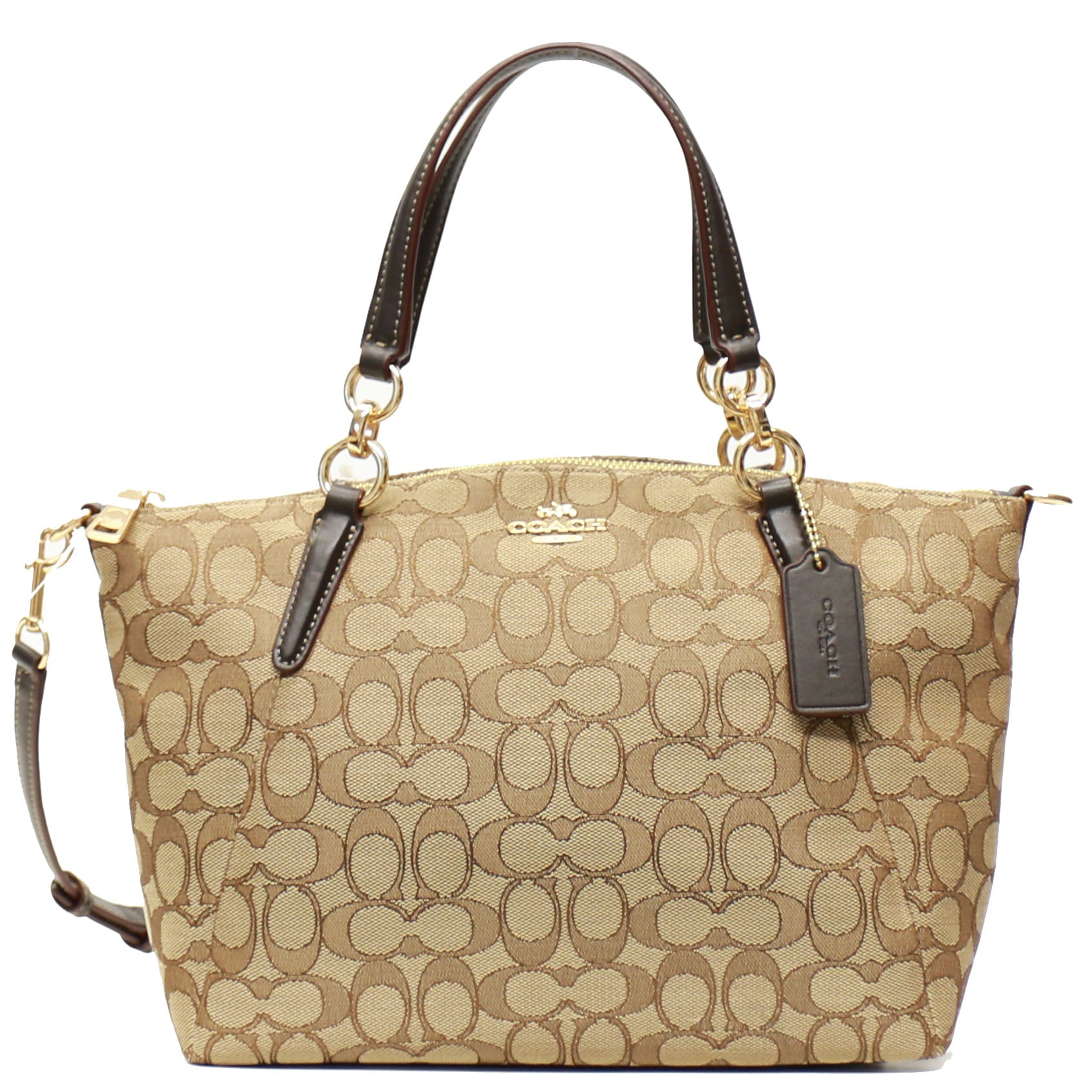 Coach F58283 Outline Signature Small Kelsey Khaki Brown Unic Star