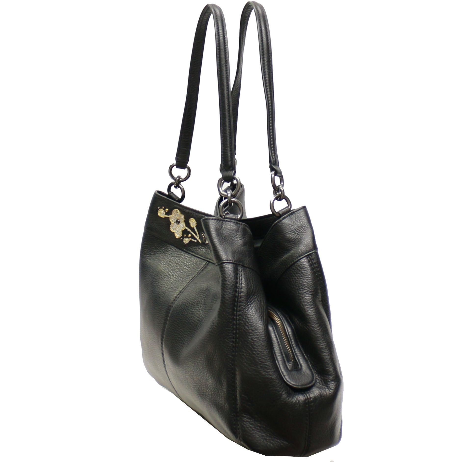 553ae50d95c ... Coach F57545 Pebble Leather Floral Embroidery Lexy Shoulder Bag- Black  ...