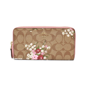 low priced feb11 30adf Coach F29931 Floral Print Accordion Zip Wallet- Khaki Multi ...