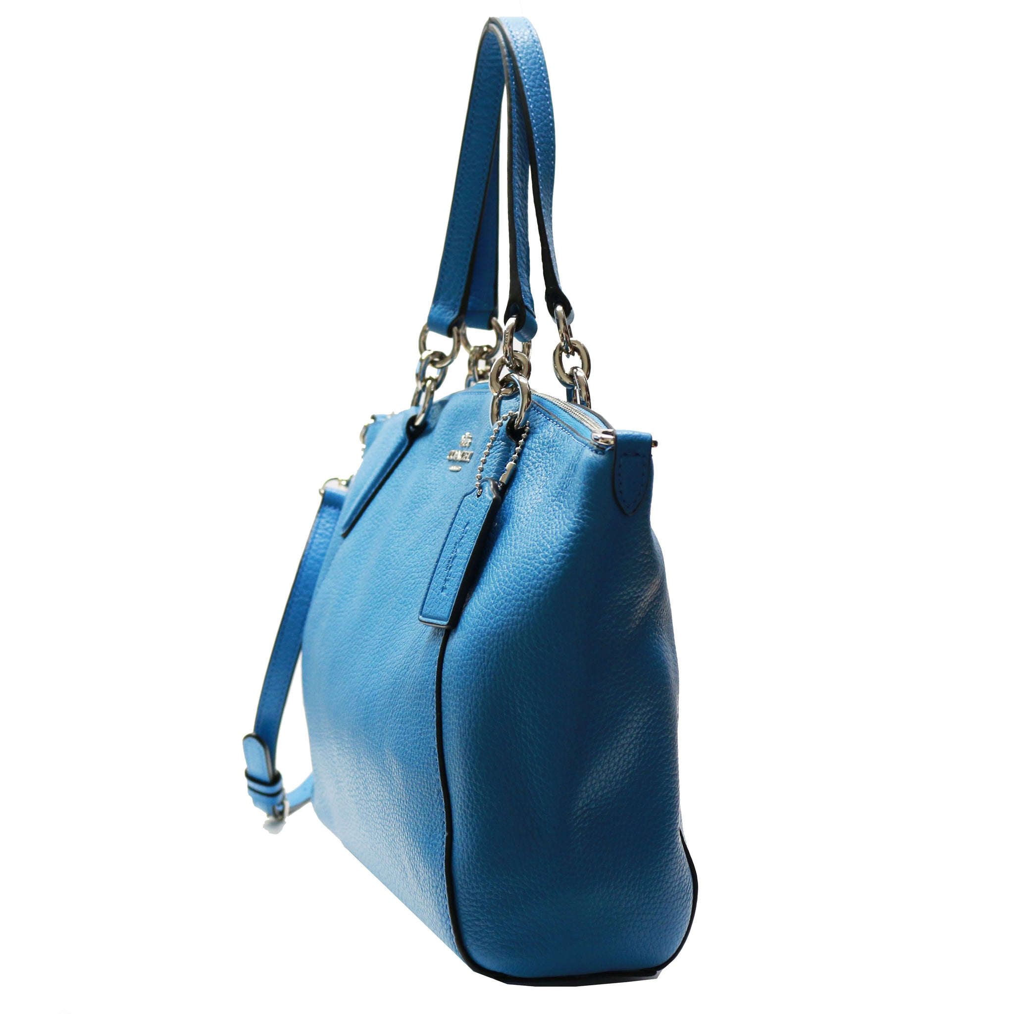 Coach F28993 Pebble Leather Small Kelsey Bright Blue Unic Star