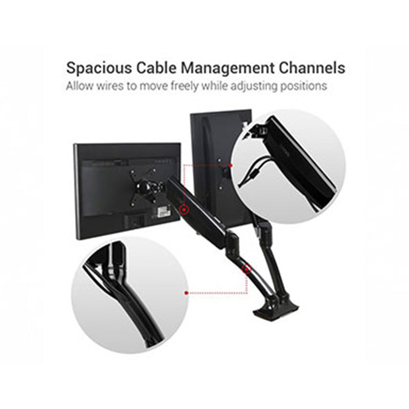 Pneumatic Dual Monitor Arm Cable Management