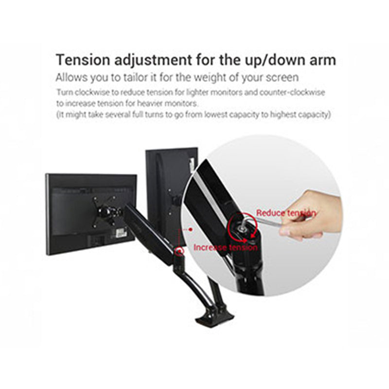 Pneumatic Dual Monitor Arm Tension