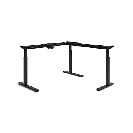 Olympus Height Adjustable L-Shaped Desk Black Legs