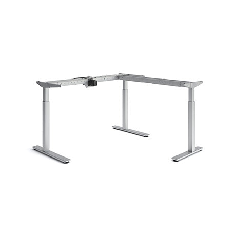Olympus Height Adjustable L-Shaped Desk Silver Legs