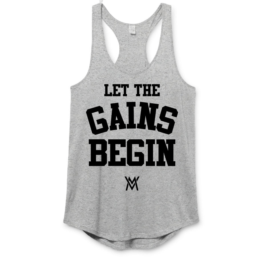 Let the Gains Begin Premium Racerback