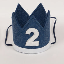 Load image into Gallery viewer, Birthday Crown & Bow Ties | Denim | 2