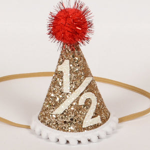 Birthday Hat | Red Poms | 1/2