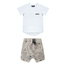 Load image into Gallery viewer, Classic White T-shirt & Acid Gray Shorts