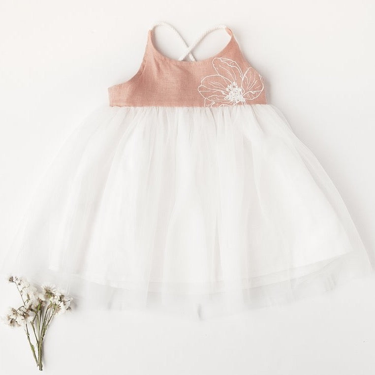 Willa Reversible Linen Tutu Dress In Petal | Garden Edition