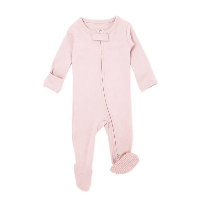 Organic Zipper Footie | Blush