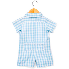 Load image into Gallery viewer, Blue Gingham Summer Romper