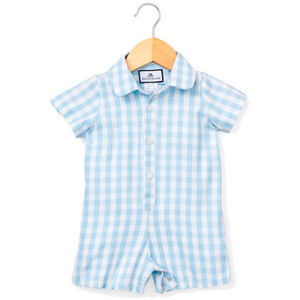 Blue Gingham Summer Romper