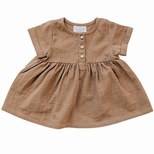 Camel Linen Cotton Dress