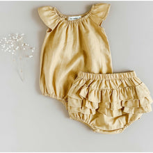 Load image into Gallery viewer, Golden Linen Flutter Sleeve Romper + Ruffle Bum Bloomers