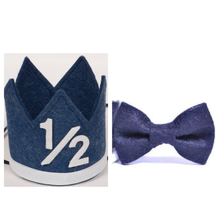 Load image into Gallery viewer, Birthday Crown & Bow Ties | Denim | 1/2