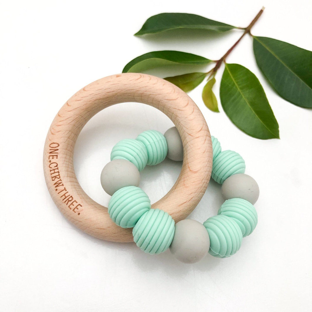 BEEHIVE Silicone & Beech Wood Teether / Minty Grey