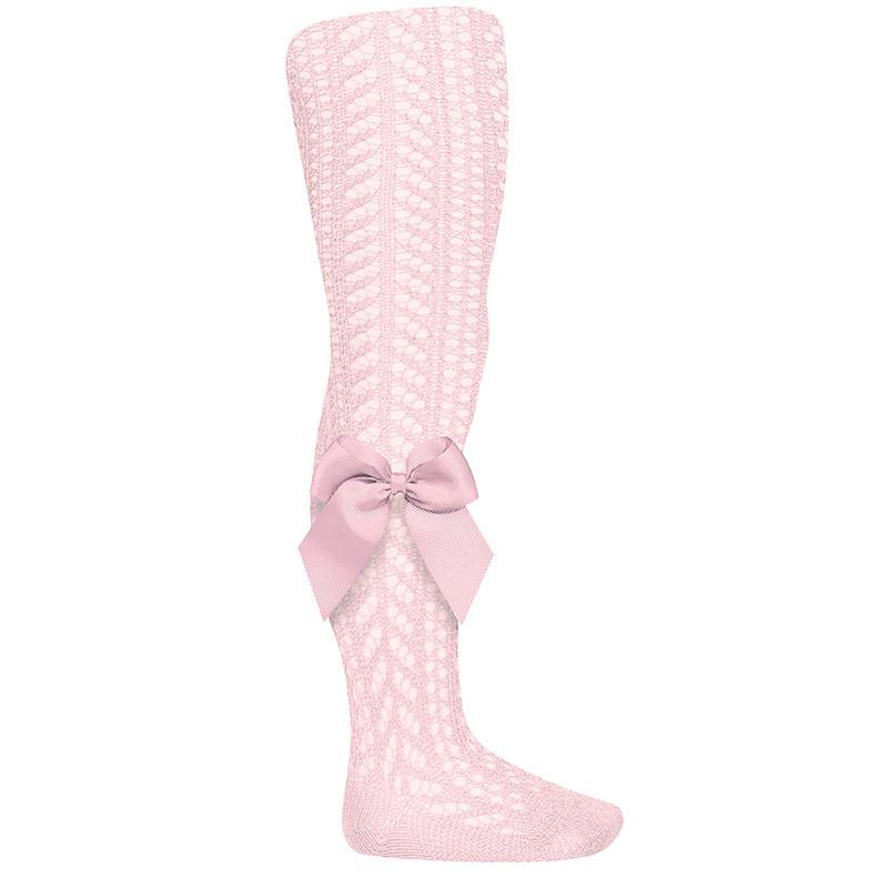 Openwork Bow Tights | Pink
