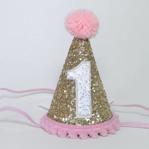 Birthday Hat | Pink Poms | 1