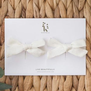 School Girl Linen Bow Clip Set | Warm White