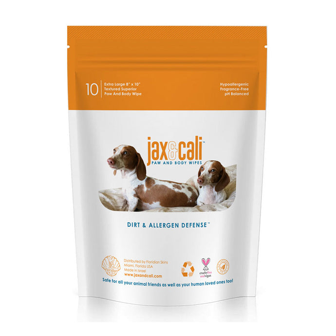 Jax & Cali® Paw and Body Wipes - Natural Hypoallergenic Vegan Cruelty Free Product FOR PETS (10 individually wrapped wipes)