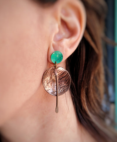 Round Cooper earrings