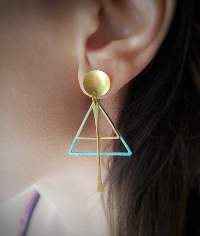 Oxidized triangle minimal earrings