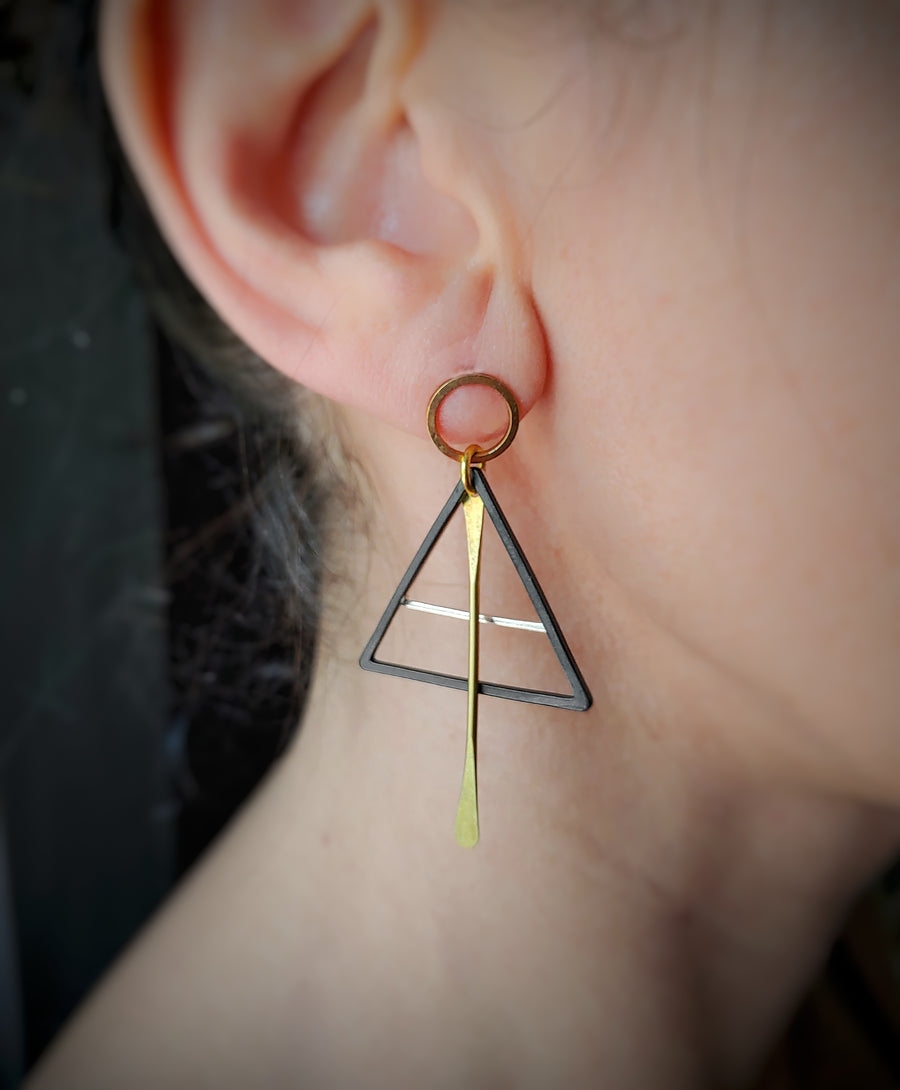 Blank silver triangle earrings