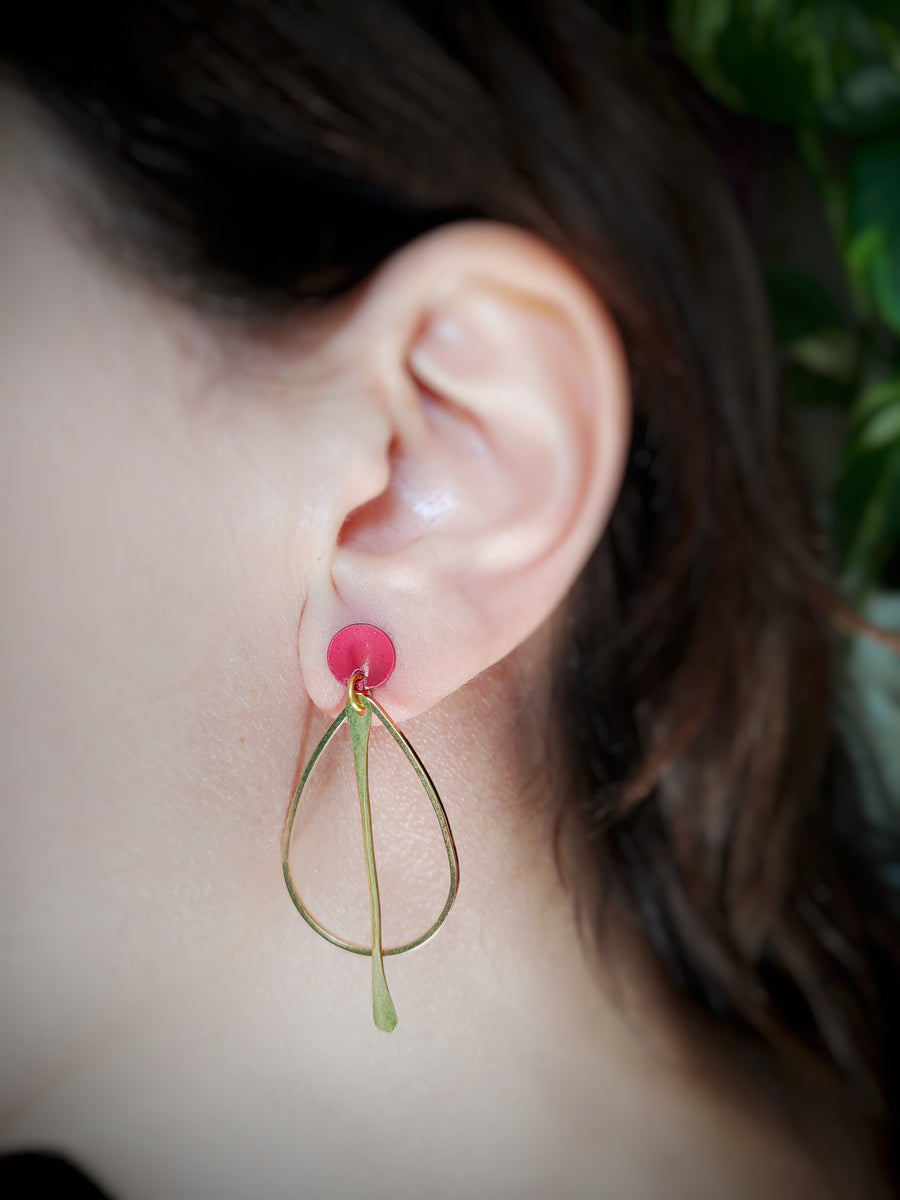 Large Golden drop earrings