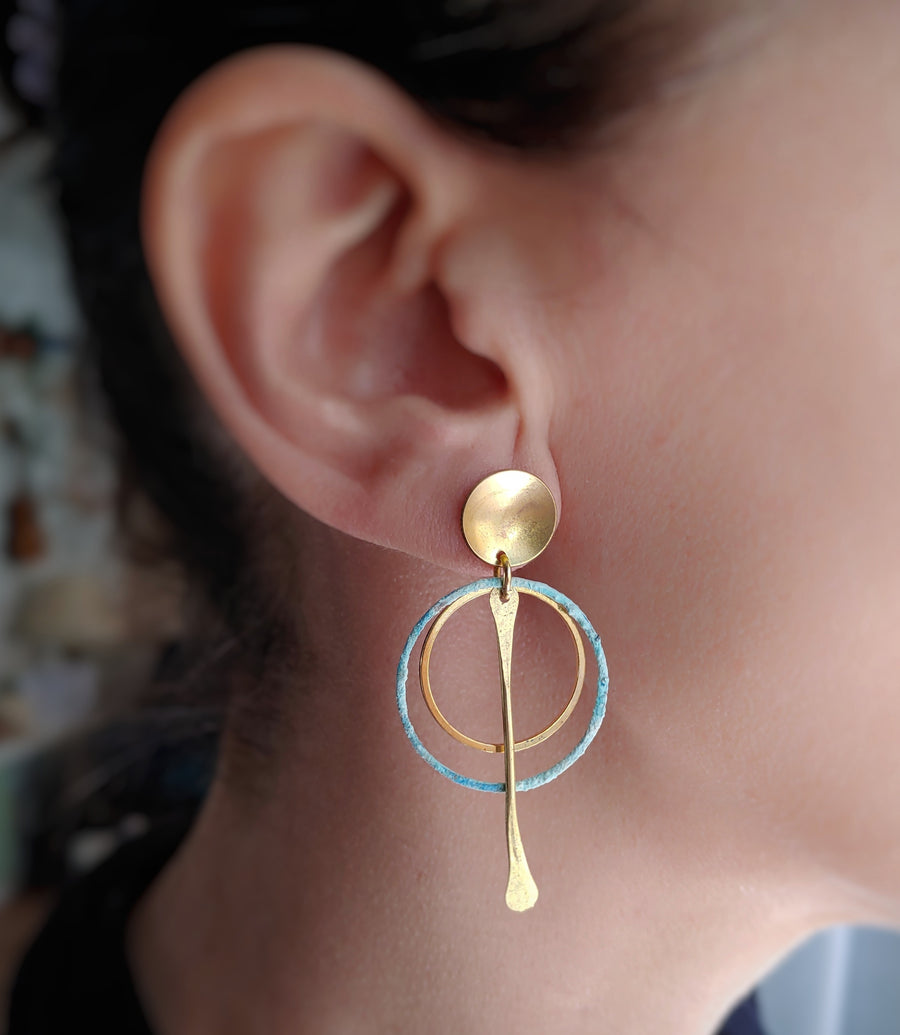 Gold Oxidized round earrings