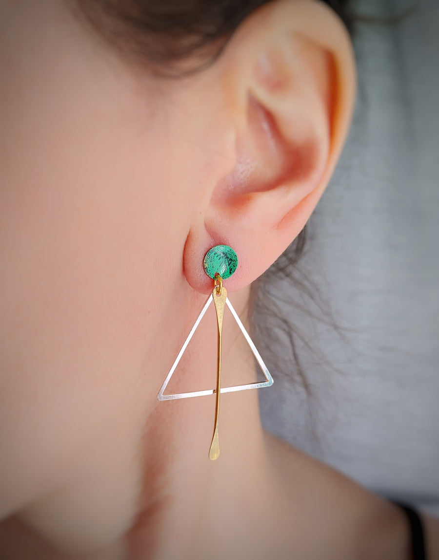 Green silver triangle earrings