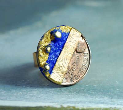 old blue spanish coin ring