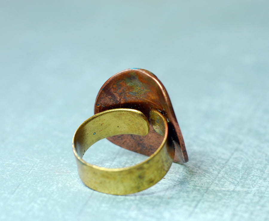 Oxidized coin ring 1800s