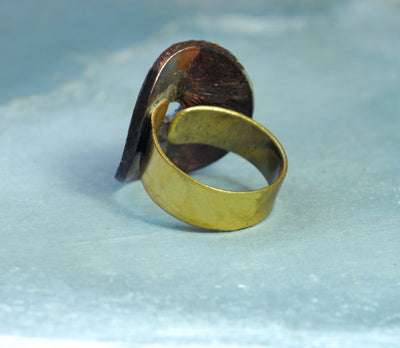 gold bronze coin ring
