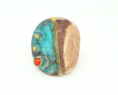 orange oxidized coin ring