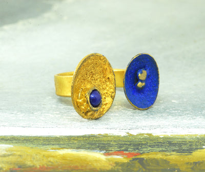 blue gold open ring