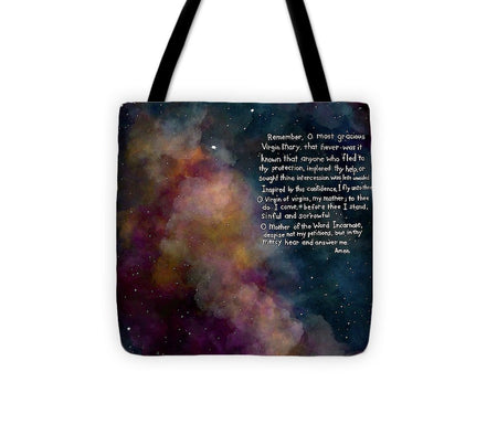 Memorare  Prayer - Tote Bag