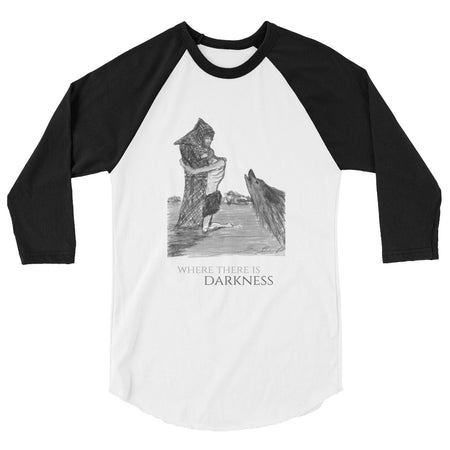 St. Francis Embrace Sketch - 3/4 sleeve raglan shirt
