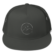 Mesh Back Snapback With Cross Mountain Scene